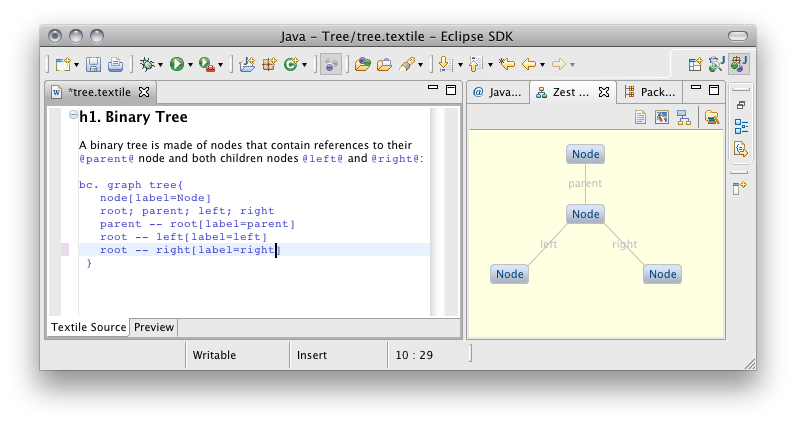 Mylyn Wikitext editor and Zest Graph View